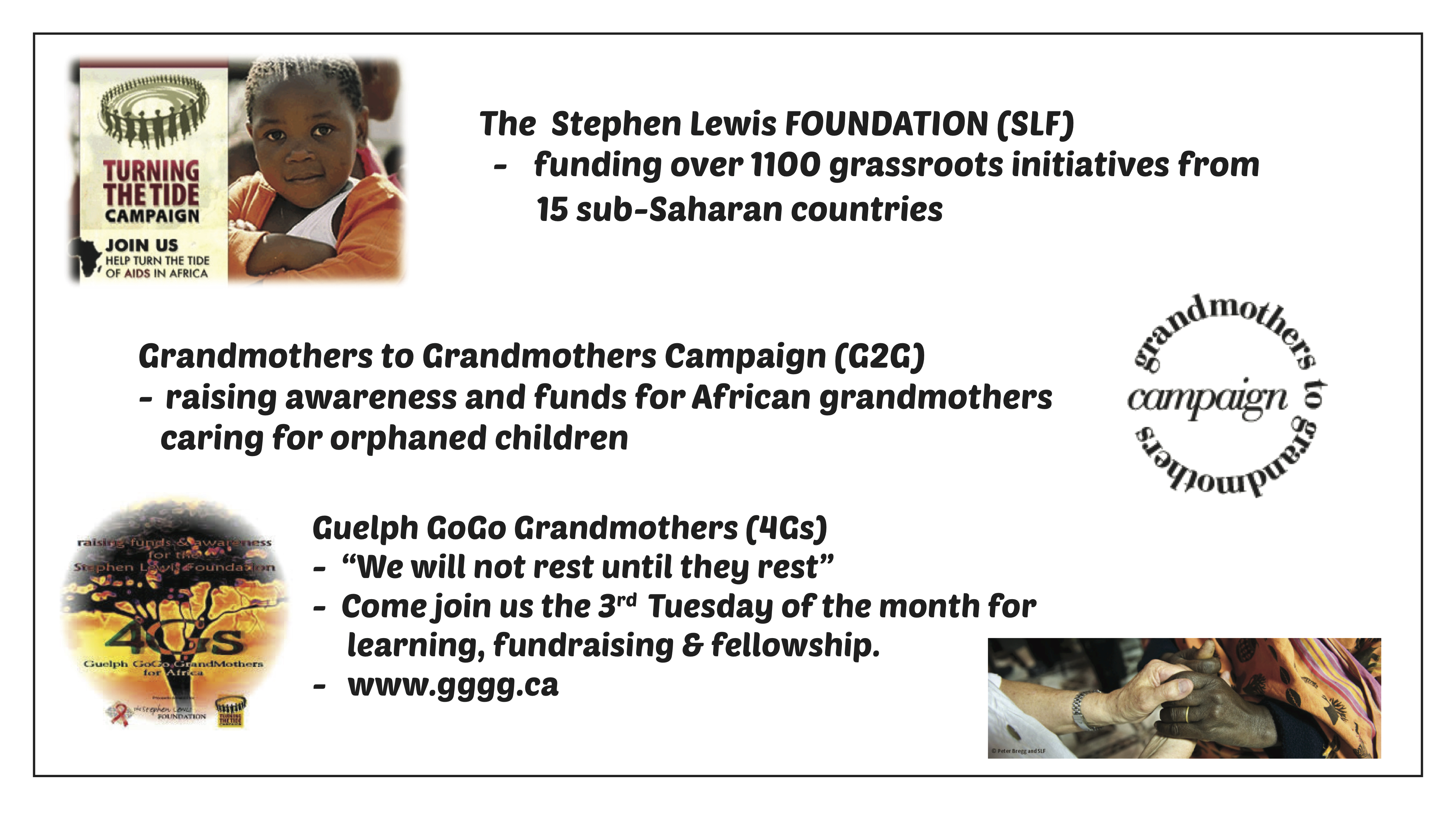 Foundation, G2G Grandmothers, GoGo Grandmotherd
